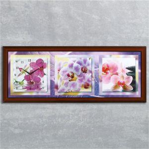 """Часы-картина настенные, серия: Цветы, """"Фиолетовые орхидеи"""", 35х100  см, микс 1210495"""