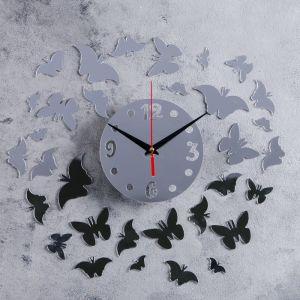 """Часы-наклейка DIY """"Бабочки"""" d=15 см, плавный ход, тип батарейки 1 АА   4632051"""