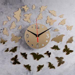 """Часы-наклейка DIY """"Бабочки2"""" d=15 см, плавный ход, тип батарейки 1 АА   4632052"""