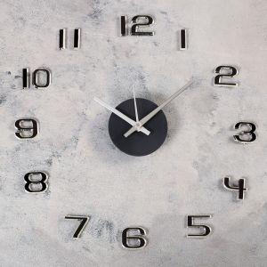 """Часы-наклейка DIY """"Данбери"""", серебрянные, 40 см, плавный ход 4432442"""