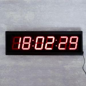Часы настенные электронные, красные цифры, 60х19.5х3 см   4128584