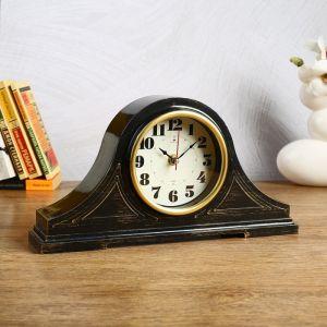 """Часы настольные """"Джуна"""" 35х18 см, корпус чёрный с золотом 4852856"""