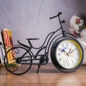 """Часы настольные """"Велосипед ретро"""", черные, 33х24 см 2771555"""