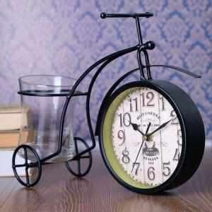 """Часы настольные """"Велосипед ретро"""", чёрный, с кашпо, 30х22.5х11 см 3598526"""