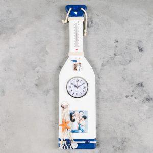 """Часы настенные, серия: Море, """"Весло"""" с термометром и фоторамкой, 52х13.5 см"""