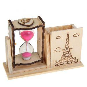 """Часы песочные """"Башня"""" с карандашницей, 10х13.5х5 см, микс 1100487"""