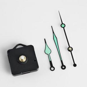 Набор, часовой механизм 3268 с подвесом, комплект стрелок, черные, светятся в темноте 12х18с 163151