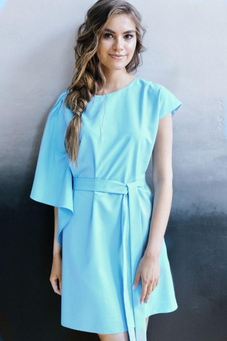 m360 Платье с ассиметричным воланом (карибский цвет)