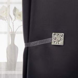 Подхват для штор «Сверкающий квадрат», 5 ? 5 см, цвет серебряный
