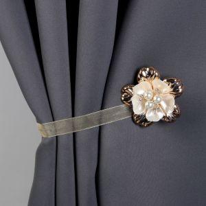 Подхват для штор «Цветок перламутровый», d = 5,5 см, цвет золотой