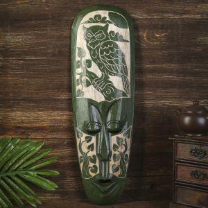"""Маска настенная дерево """"Абориген зеленый с совой и деревьями"""" 3х18х50 см   4165969"""