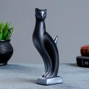 """Фигура """"Кошка Рысь"""" чёрная с серебром 7 ? 5 ? 21 см 082 671065"""