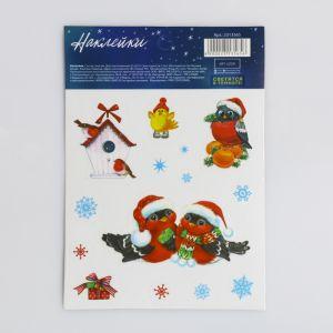 Наклейка со светящимся слоем «Праздничные снегири», 14,8 х 10,5 см