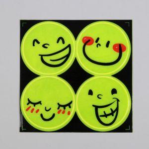 Светоотражающая наклейка «Смайлы», d = 5 см, цвет жёлтый