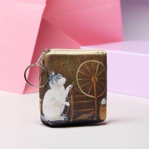 Кошелёк, отдел на молнии, с кольцом, цвет кофе