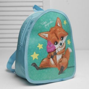 Рюкзак детский, значок, отдел на молнии, цвет бирюзовый