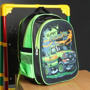 Рюкзак школьный, отдел на молнии, наружный карман, 2 боковые сетки, усиленная спинка, цвет чёрный/зелёный