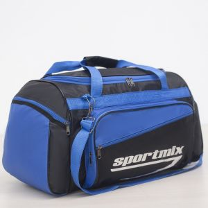 Сумка дорожная, ручная кладь, отдел на молнии, 3 наружных кармана, длинный ремень, цвет чёрный/голубой