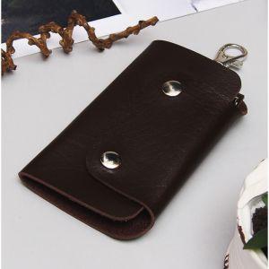 Ключница на кнопке, 7 карабинов, цвет коричневый
