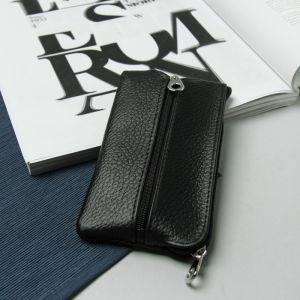 Ключница, 2 отдела на молнии, 2 кольца, цвет чёрный