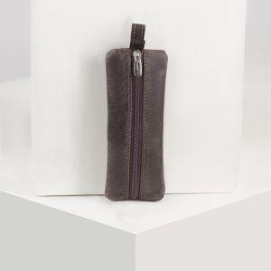 Ключница большая, отдел на молнии, цвет коричневый