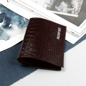 Обложка для паспорта, тиснение, крокодил, цвет коричневый