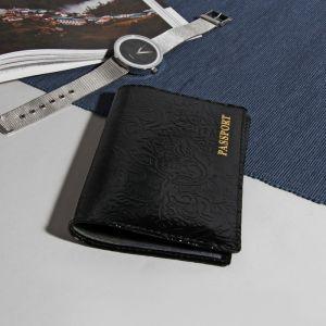 Обложка для паспорта, глянцевый, цвет чёрный
