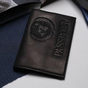 Обложка для паспорта, латинские буквы, цвет чёрный