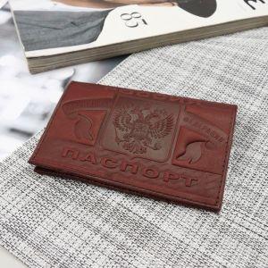 Обложка для паспорта, тиснение, цвет бордовый