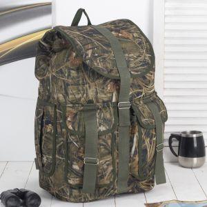 Рюкзак туристический, отдел на шнурке, 3 наружных кармана, цвет камуфляж