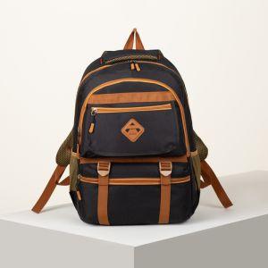 Рюкзак туристический, отдел на молнии, 2 наружных кармана, 2 боковых кармана, цвет чёрный/оранжевый