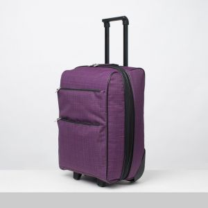 """Чемодан малый 20"""", отдел на молнии, с расширением, наружный карман, 2 колеса, цвет фиолетовый"""