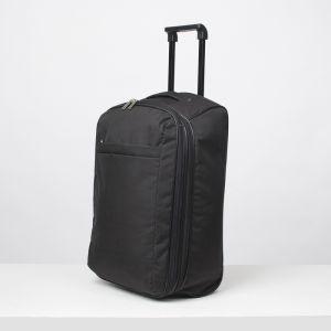 """Чемодан малый 20"""", отдел на молнии, наружный карман, с расширением, 2 колеса, цвет чёрный"""