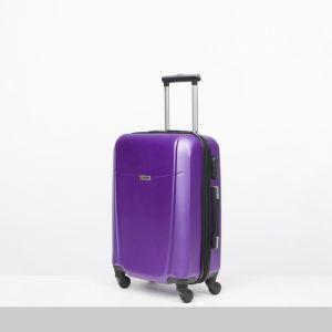"""Чемодан средний 22"""", отдел на молнии, кодовый замок, 4 колеса, цвет фиолетовый"""