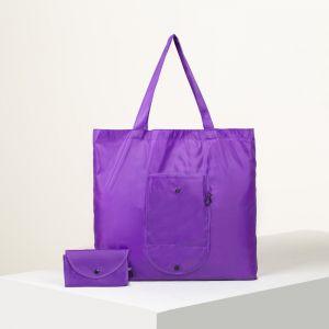 Сумка хозяйственная складная, отдел без молнии, наружный карман с карабином, цвет фиолетовый