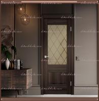 Межкомнатная дверь  ALTO 2V Остекленное Орех Каштан, стекло - Ромб бронза :