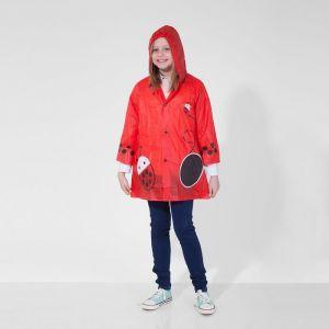 Дождевик детский пончо «Божья коровка» на кнопках с капюшоном, М, рост 100-110 см