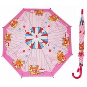 Зонт детский «Мишка с друзьями», полуавтоматический, со свистком, r=40см, цвет розовый