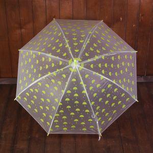Зонт детский полуавтоматический «Зонтики», r=44см, цвет прозрачный/жёлтый