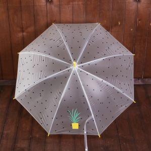 Зонт детский полуавтоматический «Растение в горшочке», r=44см, цвет жёлтый