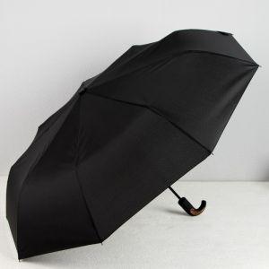 Зонт автоматический «Однотонный», 3 сложения, 9 спиц, R = 51 см, цвет чёрный