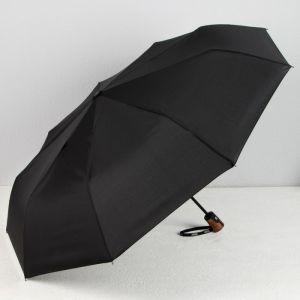 Зонт автоматический «Однотонный», 3 сложения, 9 спиц, R = 52 см, цвет чёрный