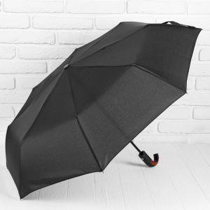 Зонт автоматический «Однотонный», 3 сложения, 8 спиц, R = 47 см, цвет чёрный