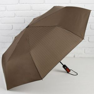 Зонт автоматический «Полоска», 3 сложения, 8 спиц, R = 47 см, цвет коричневый