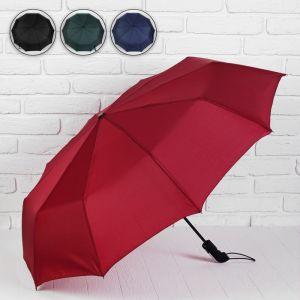 Зонт автоматический, 3 сложения, 10 спиц, R = 50 см, цвет МИКС
