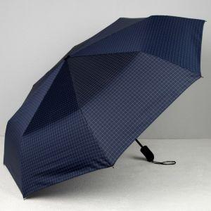 Зонт автоматический «Клетка», 3 сложения, 8 спиц, R = 51, цвет тёмно-синий