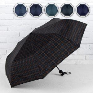 Зонт полуавтоматический, 3 сложения, 8 спиц, R = 49 см, цвет МИКС
