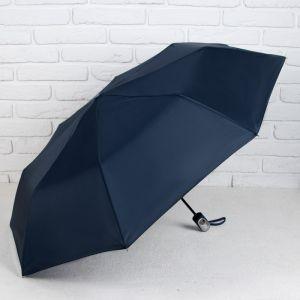 Зонт полуавтоматический «Однотонный», 3 сложения, 8 спиц, R = 50 см, цвет синий