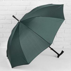 Зонт - трость полуавтоматический «Однотонный», 10 спиц, R = 51 см, цвет зелёный