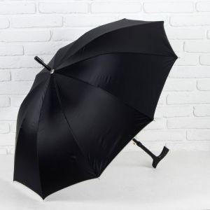 Зонт - трость полуавтоматический «Однотонный», 10 спиц, R = 51 см, цвет чёрный